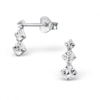 """Stříbrné náušnice s krystaly """"Kapka vody"""". Ag 925/1000"""